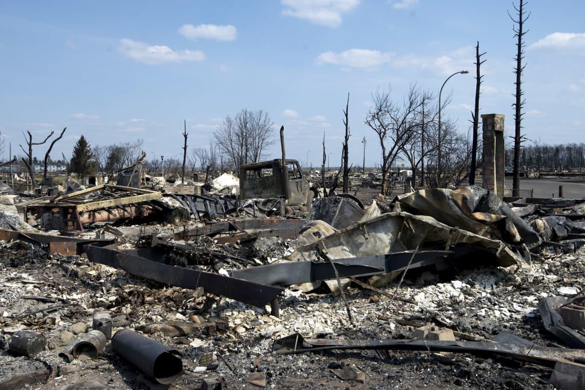Nerbrända bilar och träd i Fort McMurray, Kanada, efter skokgsbranden i maj.