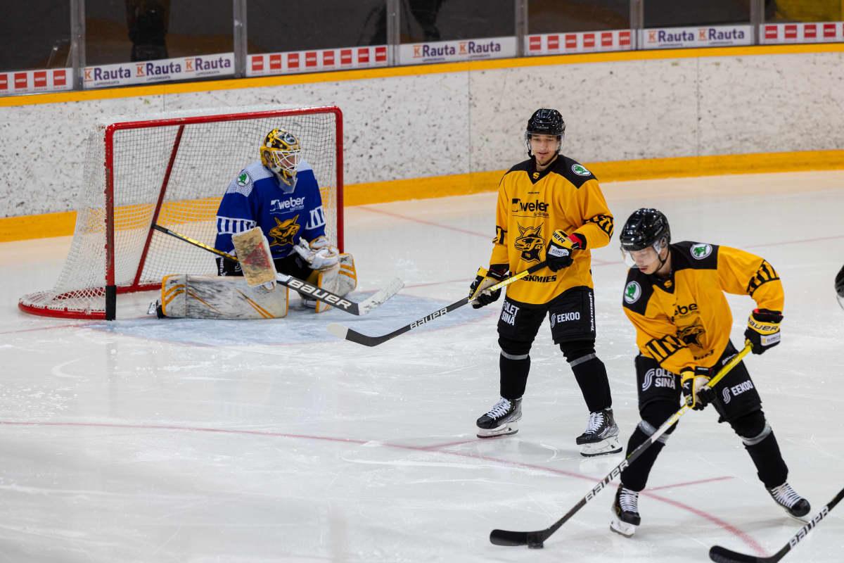 SaiPan harjoitukset Kisapuistossa 25.8.2021, pelaajat luistelevat jäällä.
