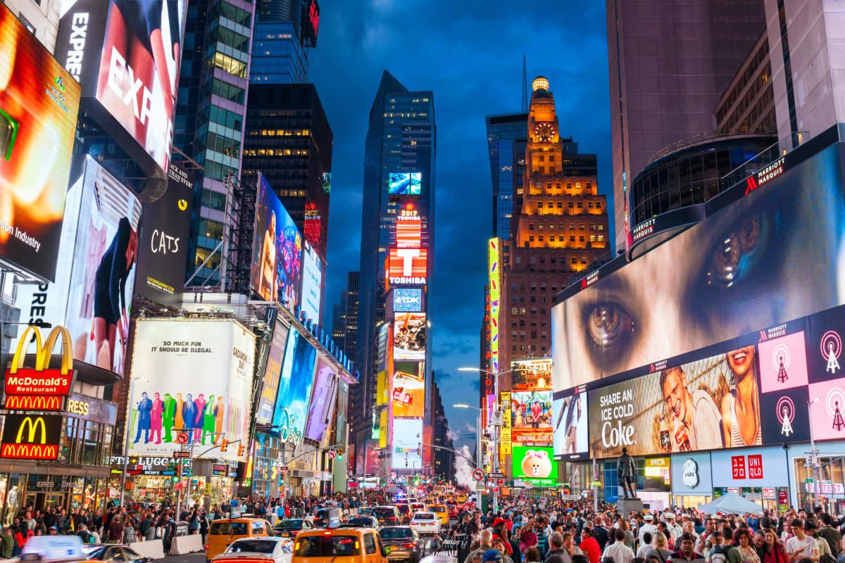 Times Squaren ruuhkaa vuonna 2017
