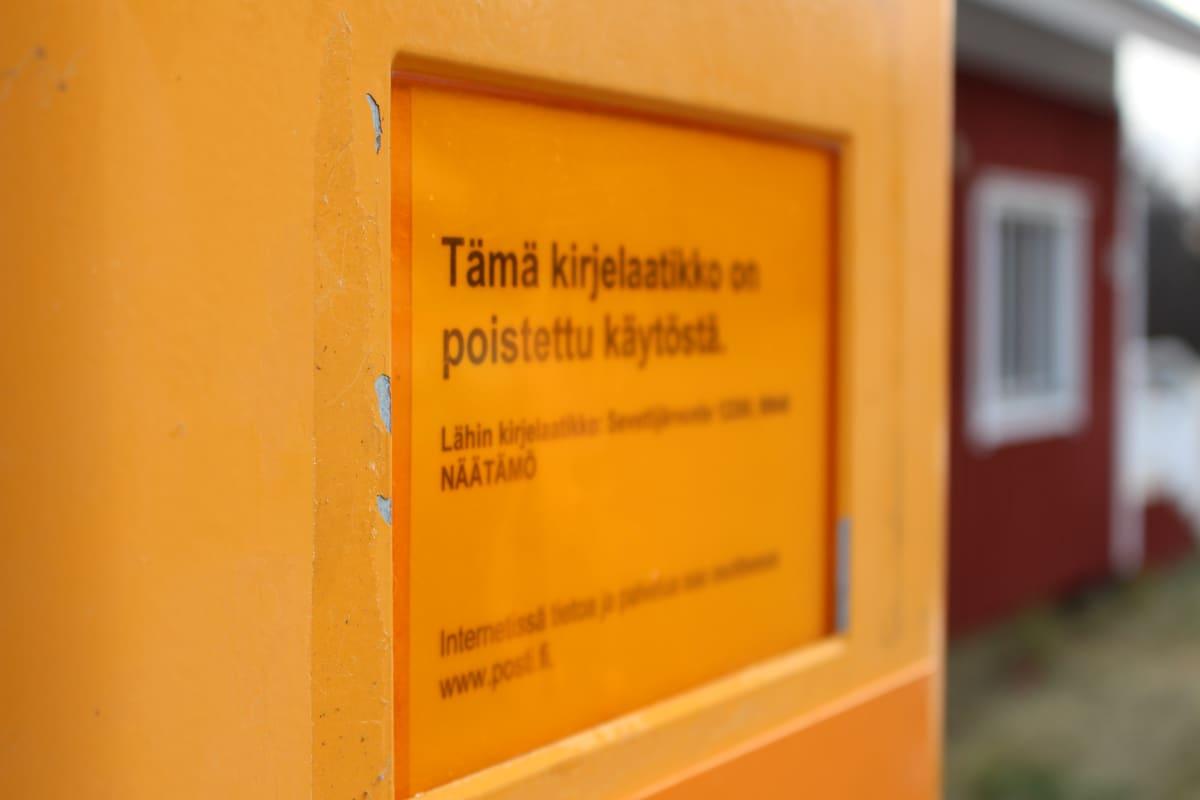 Sevetistä lähti myös alueen ainoa lähtevän postin laatikko syksyllä 2017.