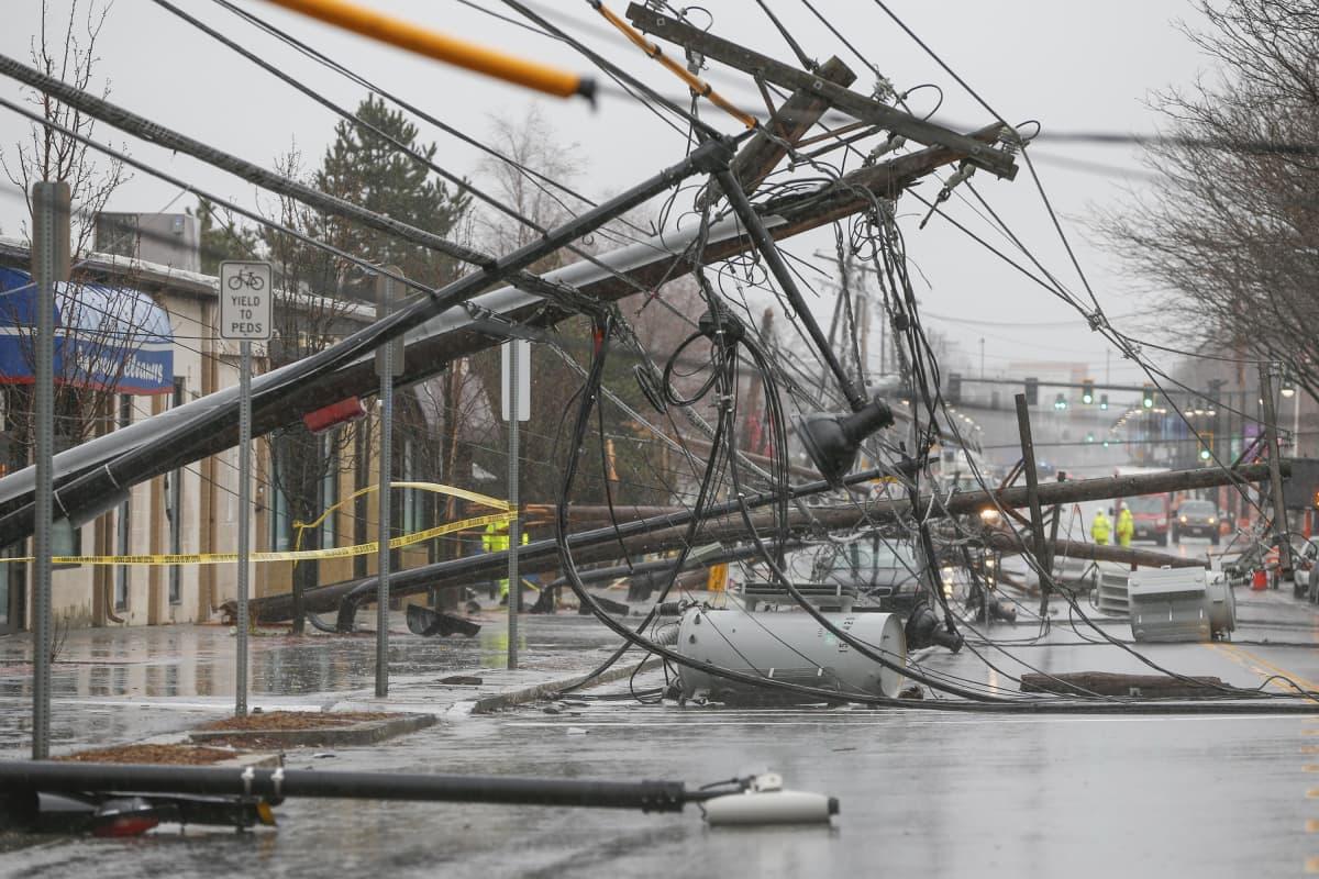 Kuvassa voimalinjoja, jotka ovat kaatuneet kadulle.  Katu tulvii.
