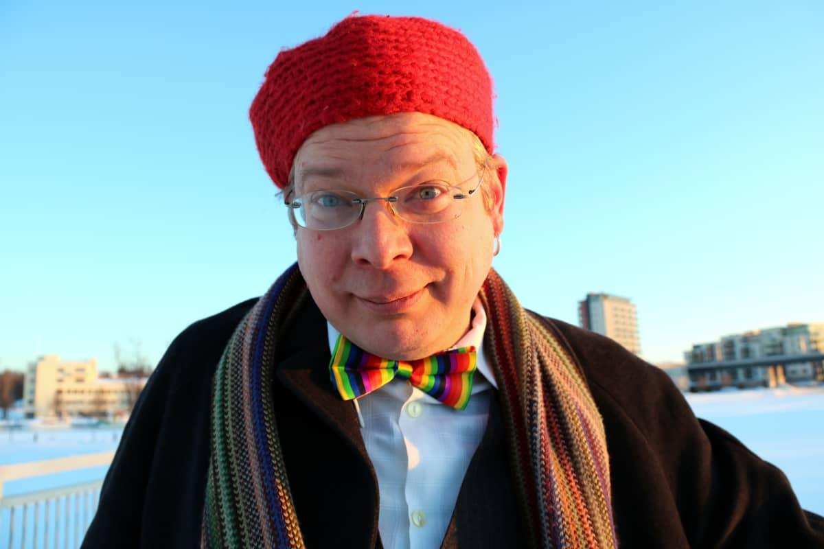 Pohjois-karjalan Setan puheenjohtaja Jussi Hermaja talvisessa Ilosaaressa.