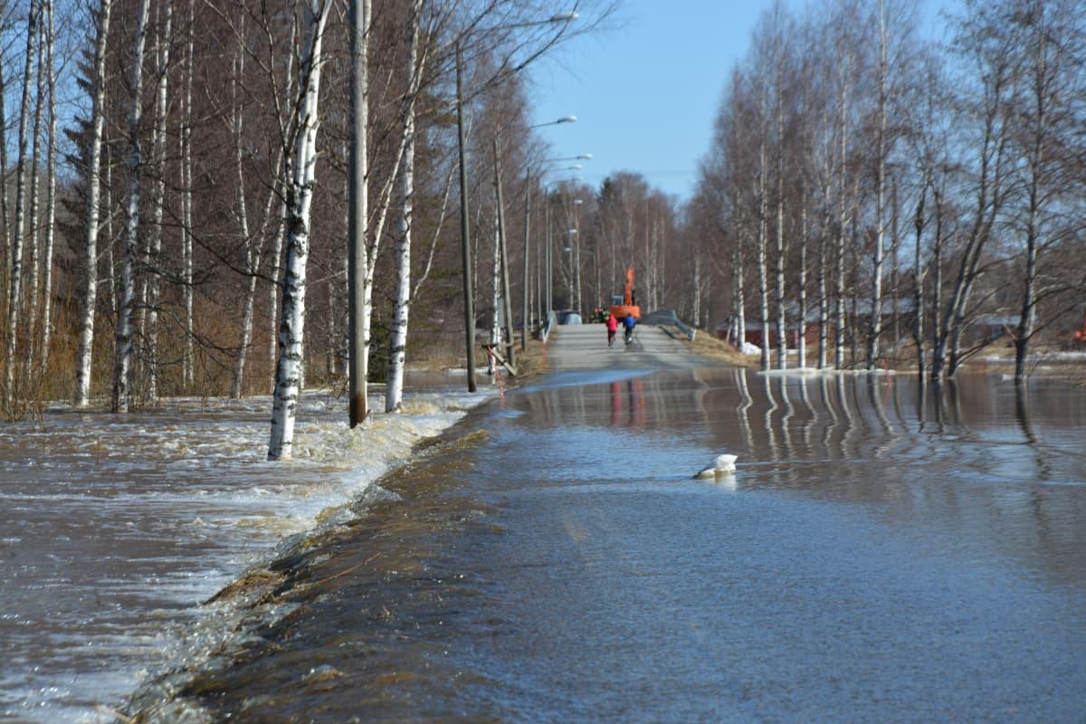 Kyrönjoki on noussut tielle Mustasaaressa Pohjanmaalla.