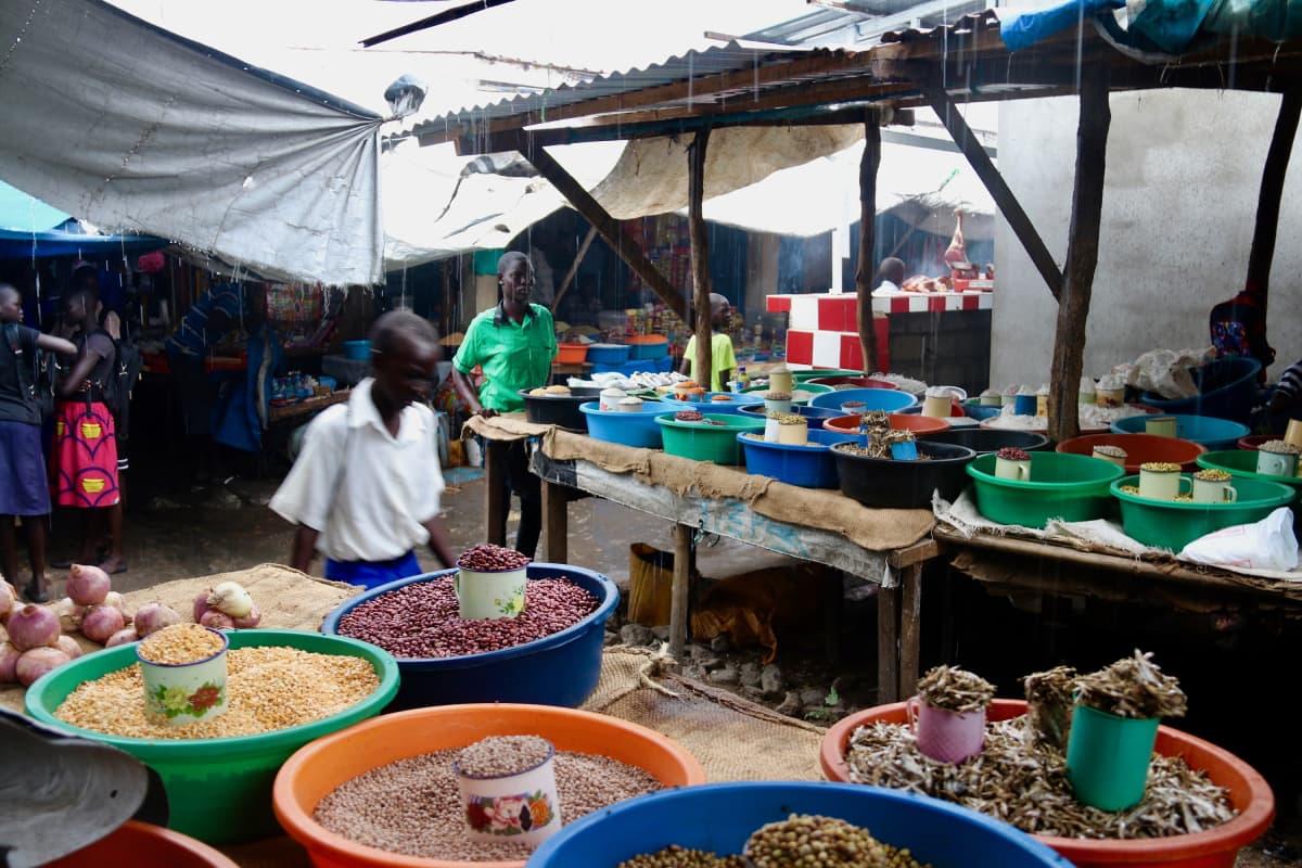 Papuja myynnissä markkinoilla jubassa