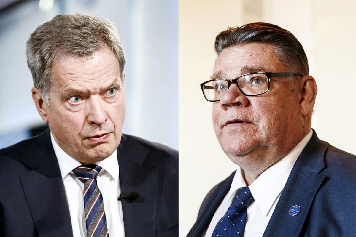 Kuvakollaasissa presidentti Sauli Niinistö ja Timo Soini.