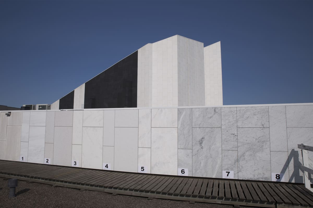 Finlandia-talo, marmorinäytteet.