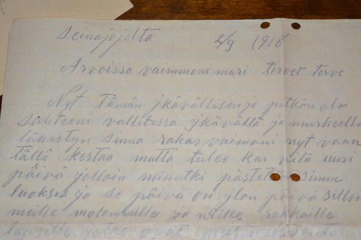 Ylistarolaisen Frans Lehdon kirje vaimolleen ei koskaan päässyt perille.