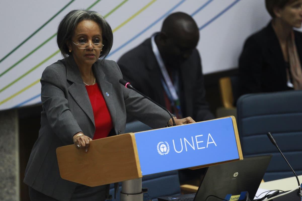 Etiopian presidentiksi valittu Sahle-Work Zewde kuvattuna YK:n ympäristöohjelman päämajassa Nairobissa, Keniassa.