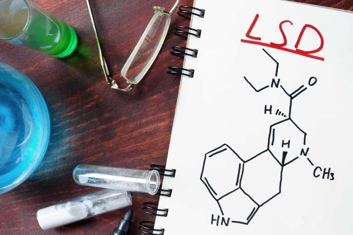 Kuva LSD:n molekyylirakenteesta.