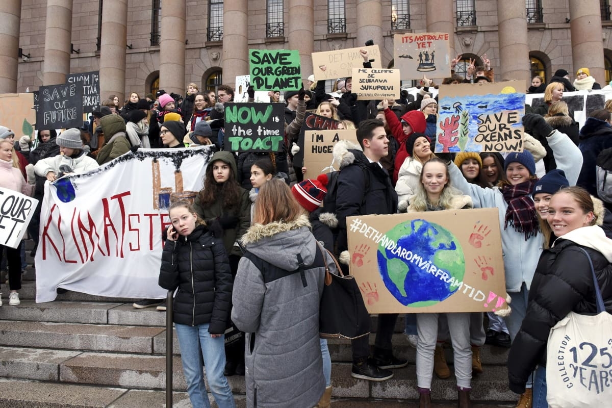 Mielenosoittajia eduskunnan portailla