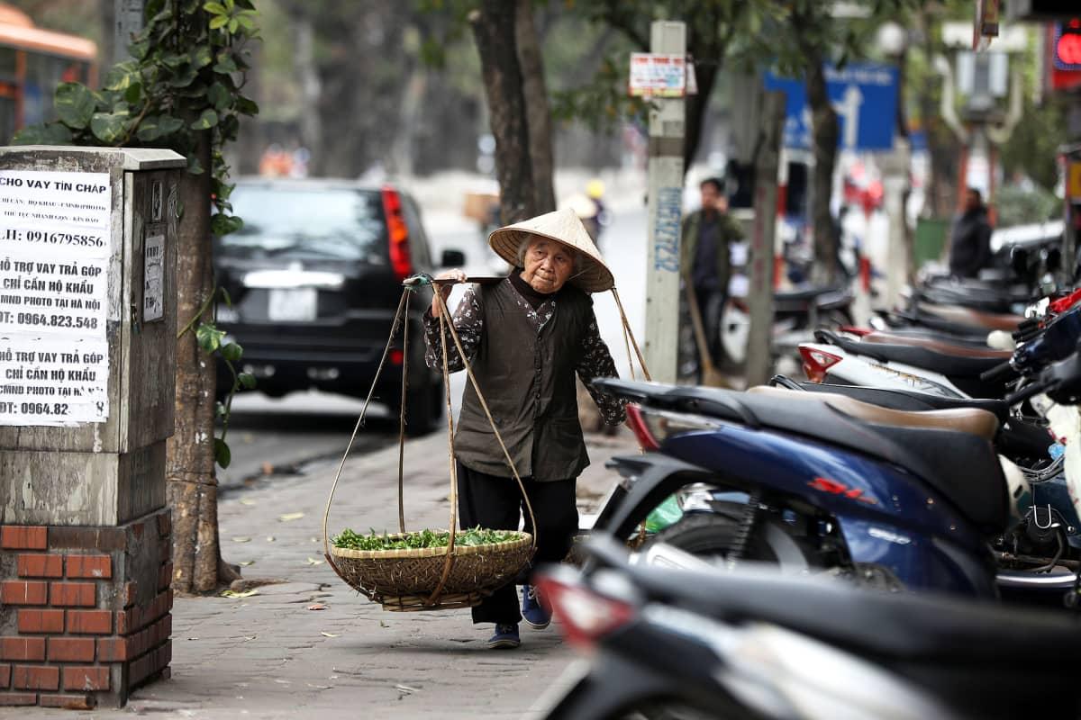 Nainen kantaa vihanneskuormaa kadulla Hanoissa Vietnamissa.