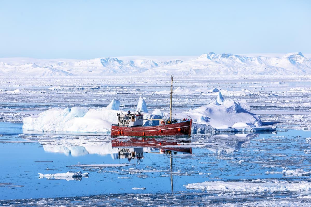 Kalastusalus jäävuorten keskellä.