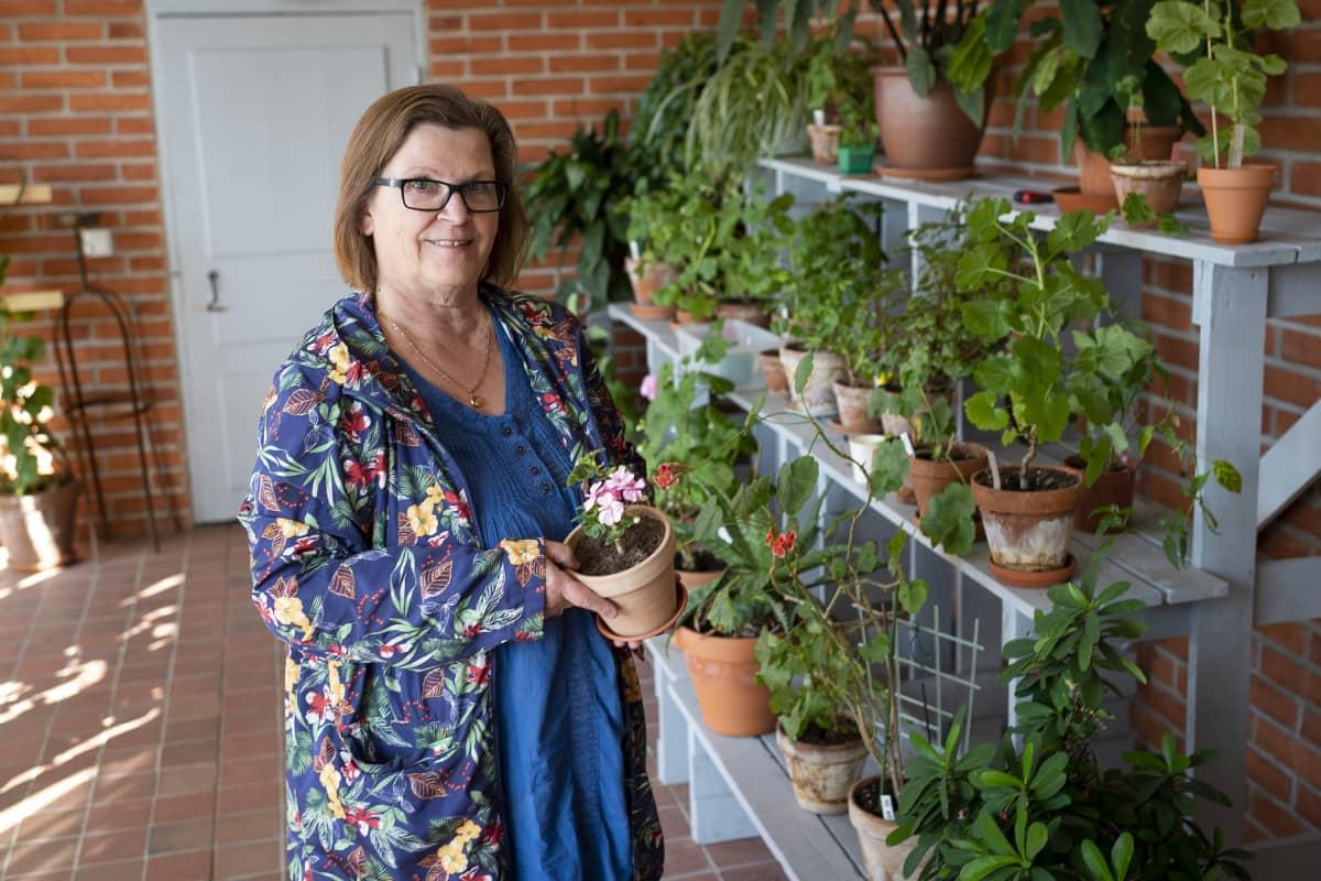 Lena Granlund pelargoniruukku käsissään.