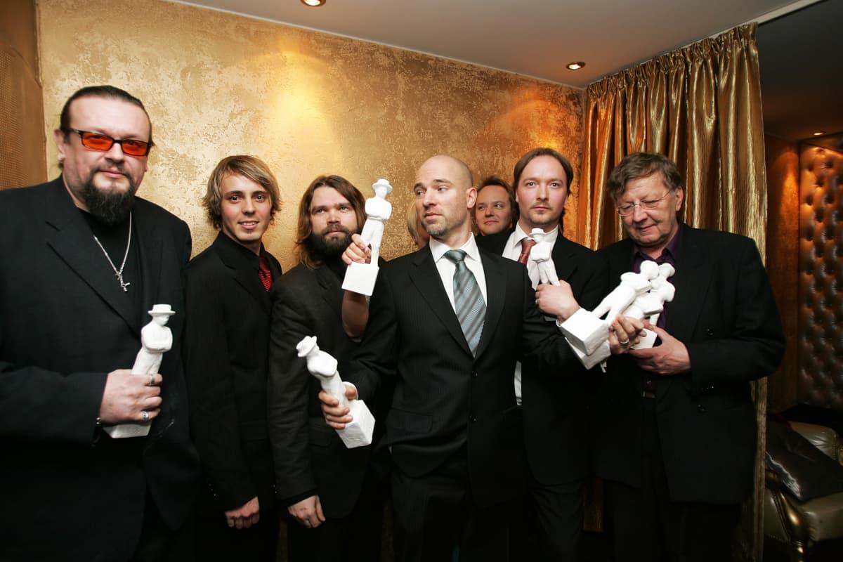Markus Selin, Jasper Pääkkönen, Mikko Kouki, Aku Louhimies, Paavo Westerberg ja Sulevi Peltola Jussi-gaalassa.