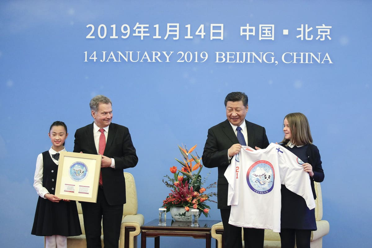 Suomen presidentti Sauli Niinisto ja Kiinan presidentti Xi Jinping  Kiinan ja Suomen talviurheilun vuoden 2019 avajaisjuhlallisuuksissa.