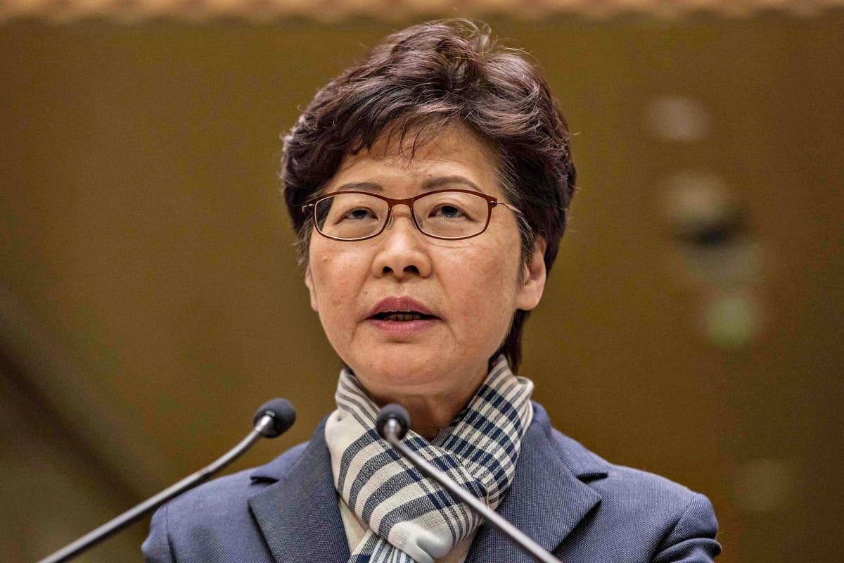 Hongkongin hallintojohtaja Carrie Lam lehdistötilaisuudessa Hongkongissa 11. marraskuuta 2019.