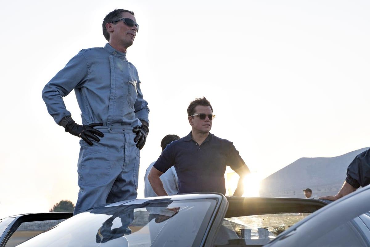 Christian Bale ja Matt Damon Le Mans 66 -elokuvan kuvaustauolla.