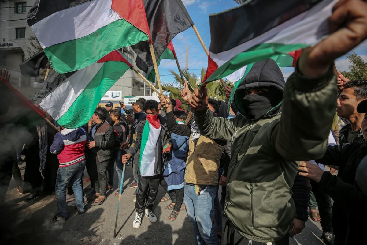 Palestiinalaisten mielenosoitus Yhdysvaltain presidentti Donald Trumpin Lähi-idän rauhansopimusta vastaan Gazassa 28.1.2020.