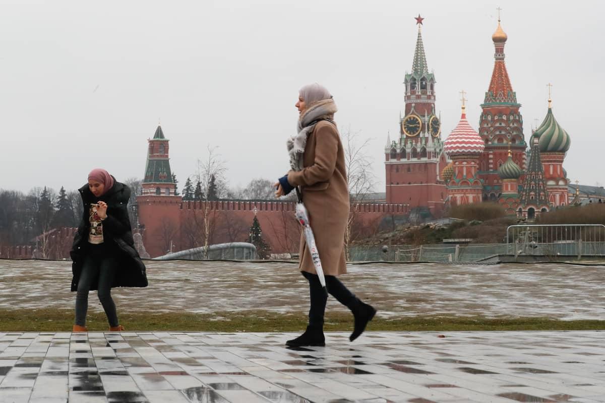 Ihmisiä lumettomalla kadulla, taustalla Kreml.