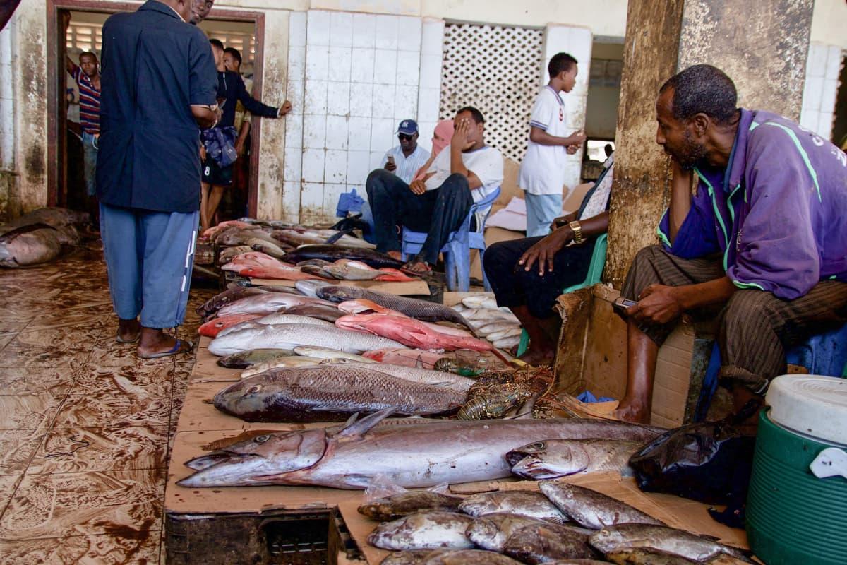 Mogadishun kalamarkkinoilla myydään tuoretta kalaa.
