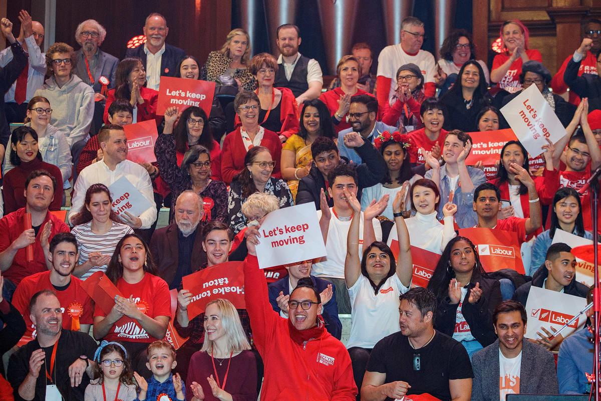 Työväen puolueen vaalikampanjan aloitus Aucklandissa Uudessa Seelannissa 8. elokuuta.
