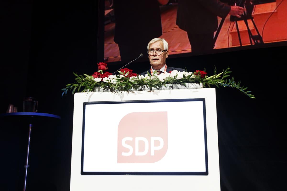 Puolueen väistyvä puheenjohtaja Antti Rinne Suomen Sosialidemokraattisen Puolueen 46. puoluekokouksessa Tampereella lauantaina 22. elokuuta 2020