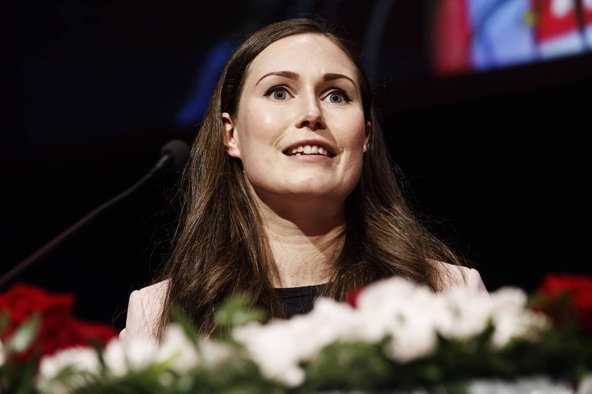 Pääministeri ja puolueen tuleva puheenjohtaja Sanna Marin Suomen Sosialidemokraattisen Puolueen 46. puoluekokouksessa Tampereella lauantaina 22. elokuuta 2020