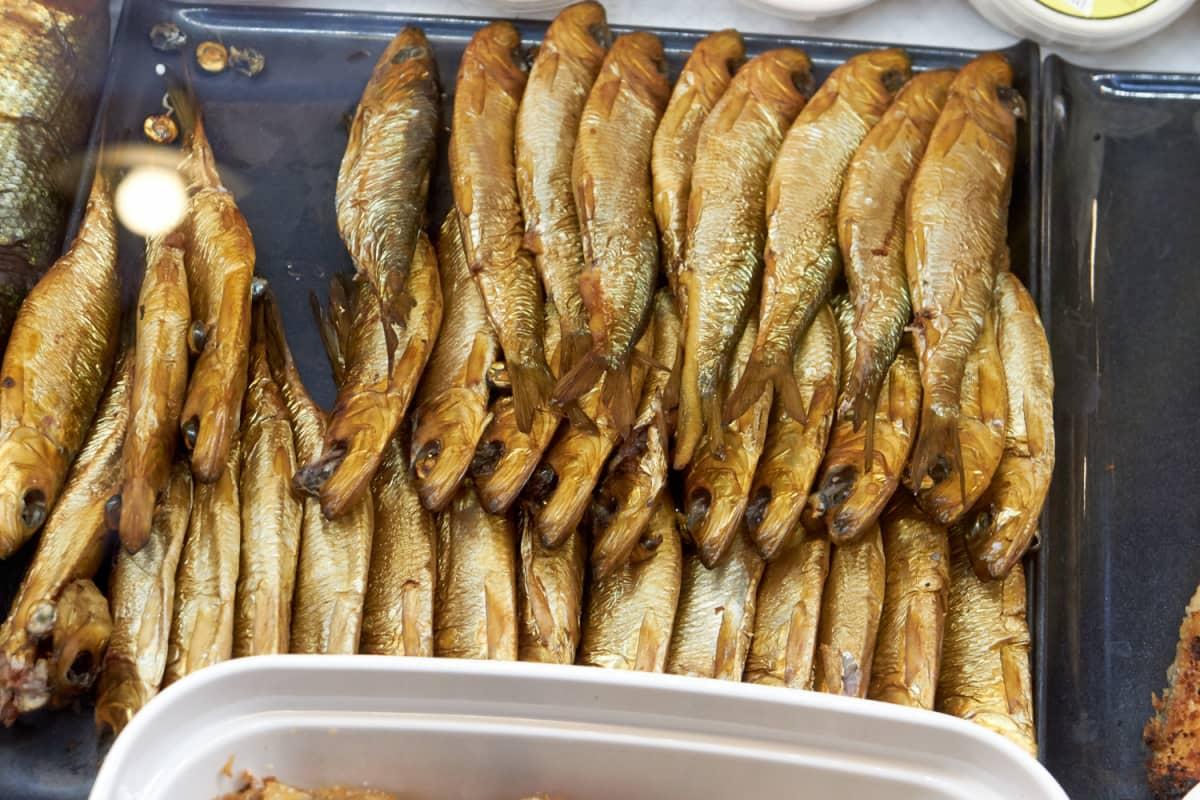 Smoked Baltic herring on sale.