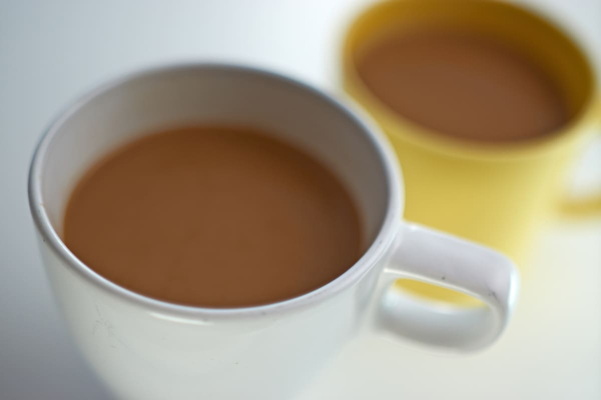 Two cups of coffee.