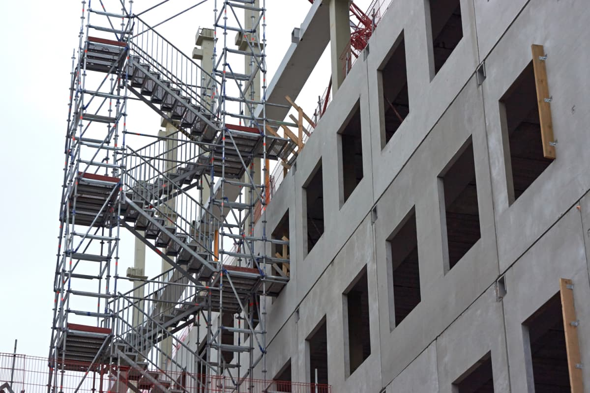 Construction site and scaffolding.