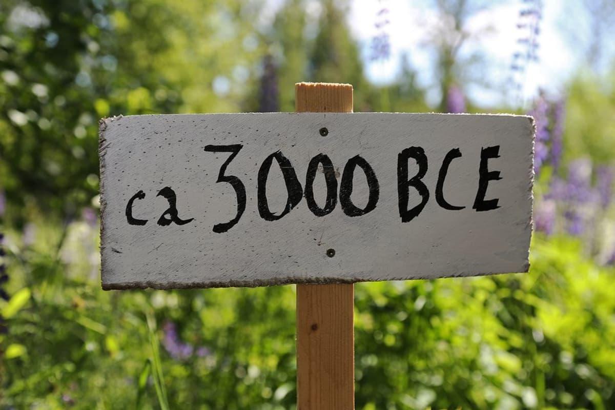 """Kyltti, jossa on teksti: """"ca 3000 BCE""""."""