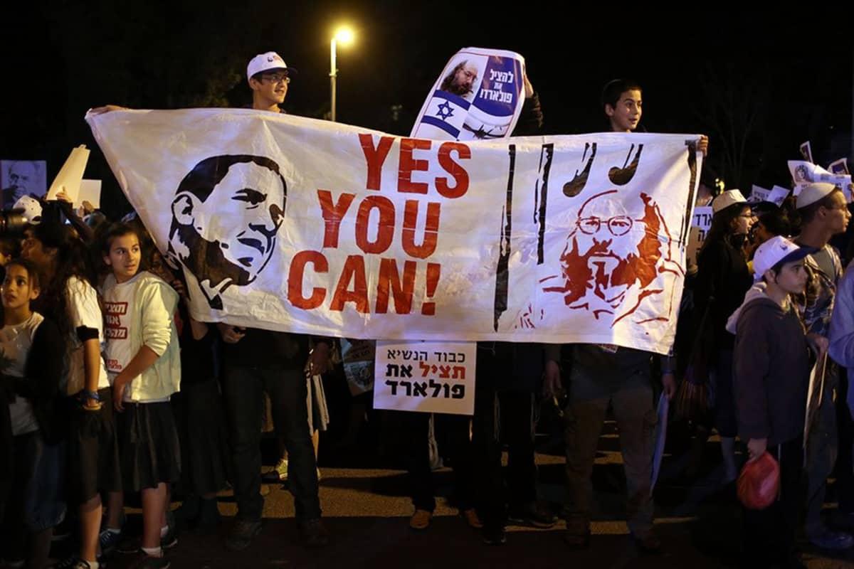 Israelilaiset protestoijat vaativat Yhdysvaltojen presidentti Barack Obamaa vaputtamaan Jonathan Pollardin.