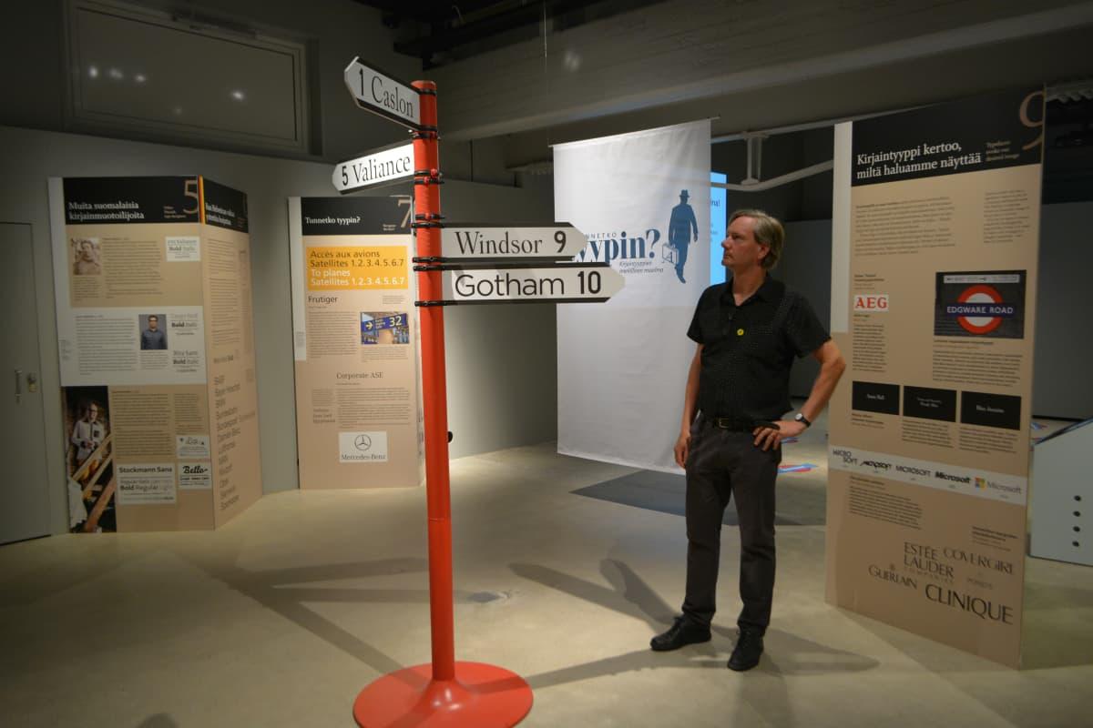 Typografia -näyttelyn käsikirjoittaja Markus Itkonen