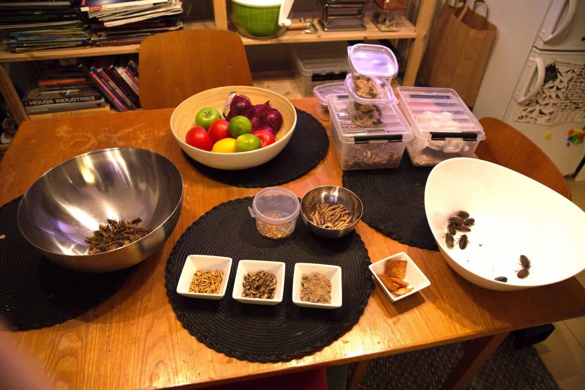 Omeletin raaka-aineita pöydällä