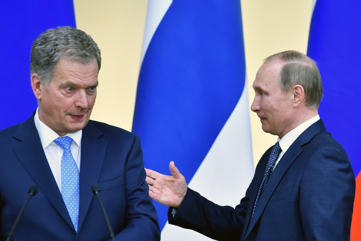 Presidentit Sauli Niinistö ja Vladimir Putin tapasivat Moskovassa 22. maaliskuussa.