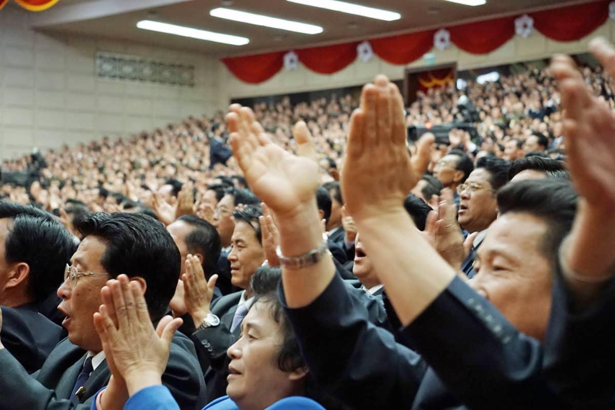 Puoluekokous Pohjois-Korean Pjongjangissa.