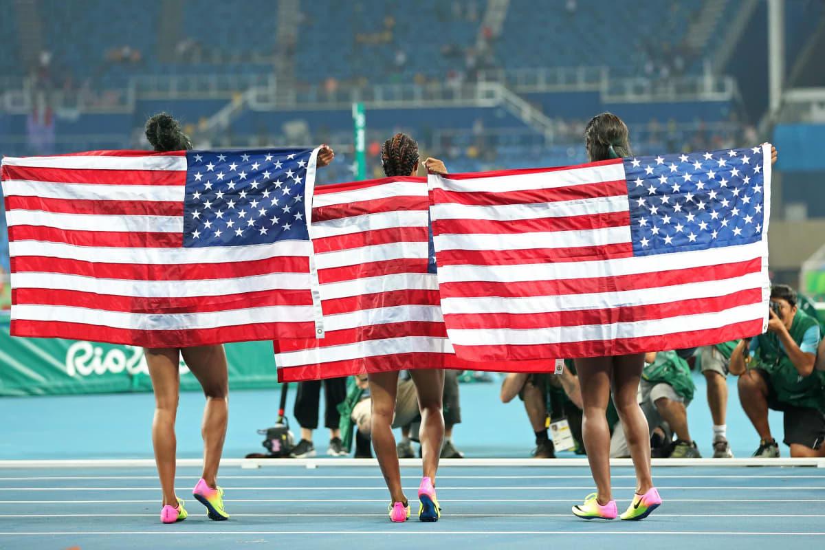USA:n kolmoisvoitto Rion 100 metrin aitafinaalissa.