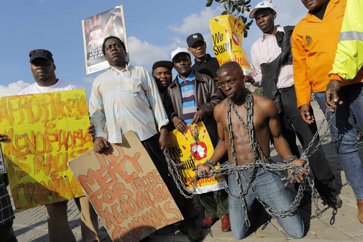 Mielenosoitus Johannesburgissa.