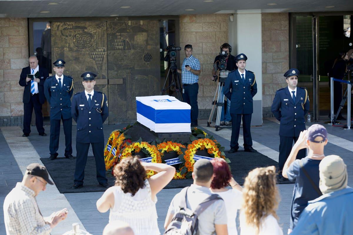 Shimon Peresin muistotilaisuus yleisölle Jerusalemissa.