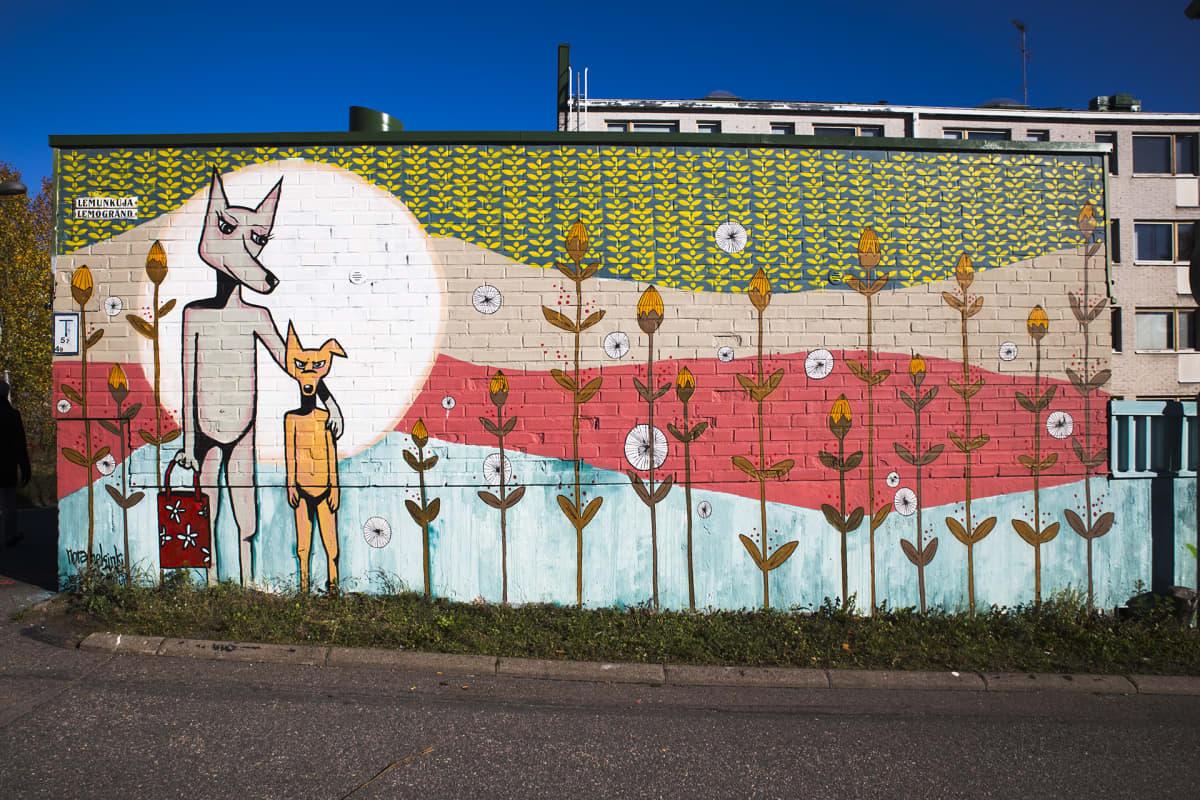 Seinämaalaus seinässä Helsingissä