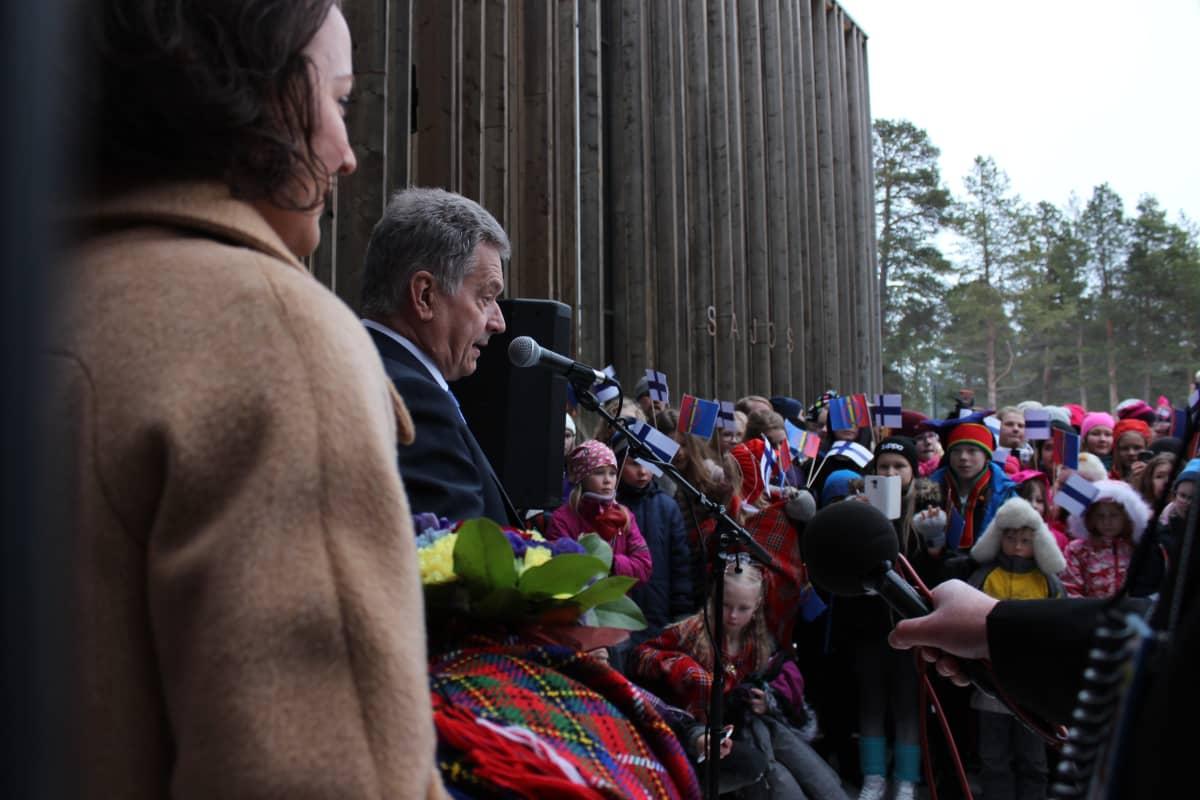 presidentti Sauli Niinistö Jenni Haukio Inari saamelaisten kansallispäivä