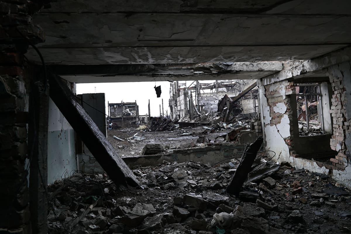 Tuhoutunut rakennus.