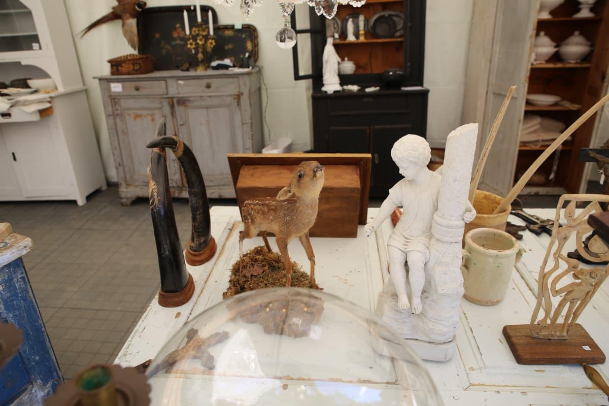 Antiikki antiikkikauppa Fiskarsin Antiikkipäivät täytetty eläin