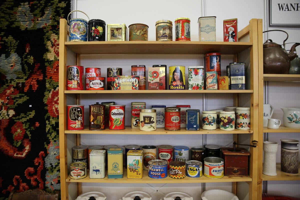Kahvipaketit vintage nostalgia Fiskars Antiikkipäivät