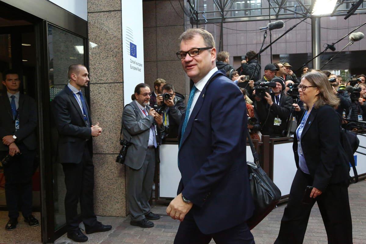 Juha Sipilä saapuu EU:n huippukokoukseen perjantaina 20. lokakuuta.