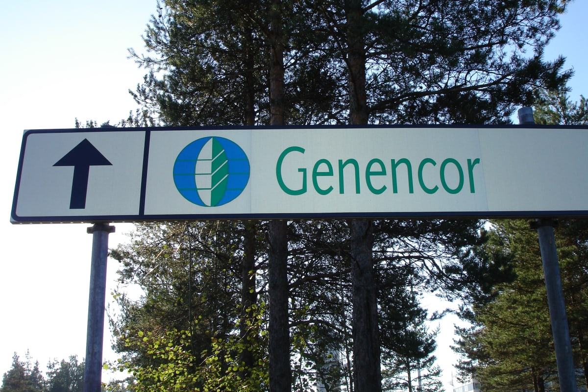 Skylt till enzymtillverkaren Genencors fabrik i Hangö.