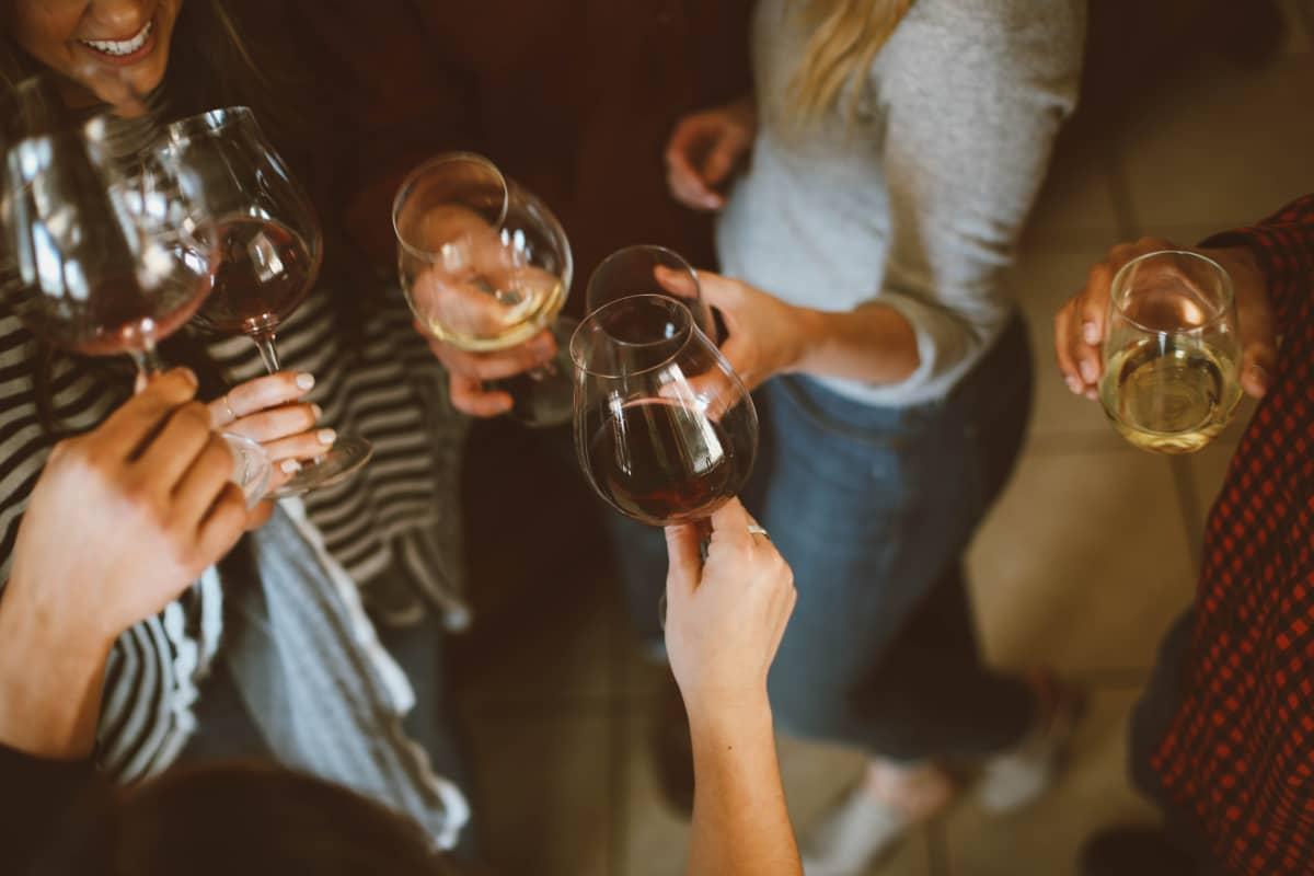 Ystäviä kilistämässä viinillä.