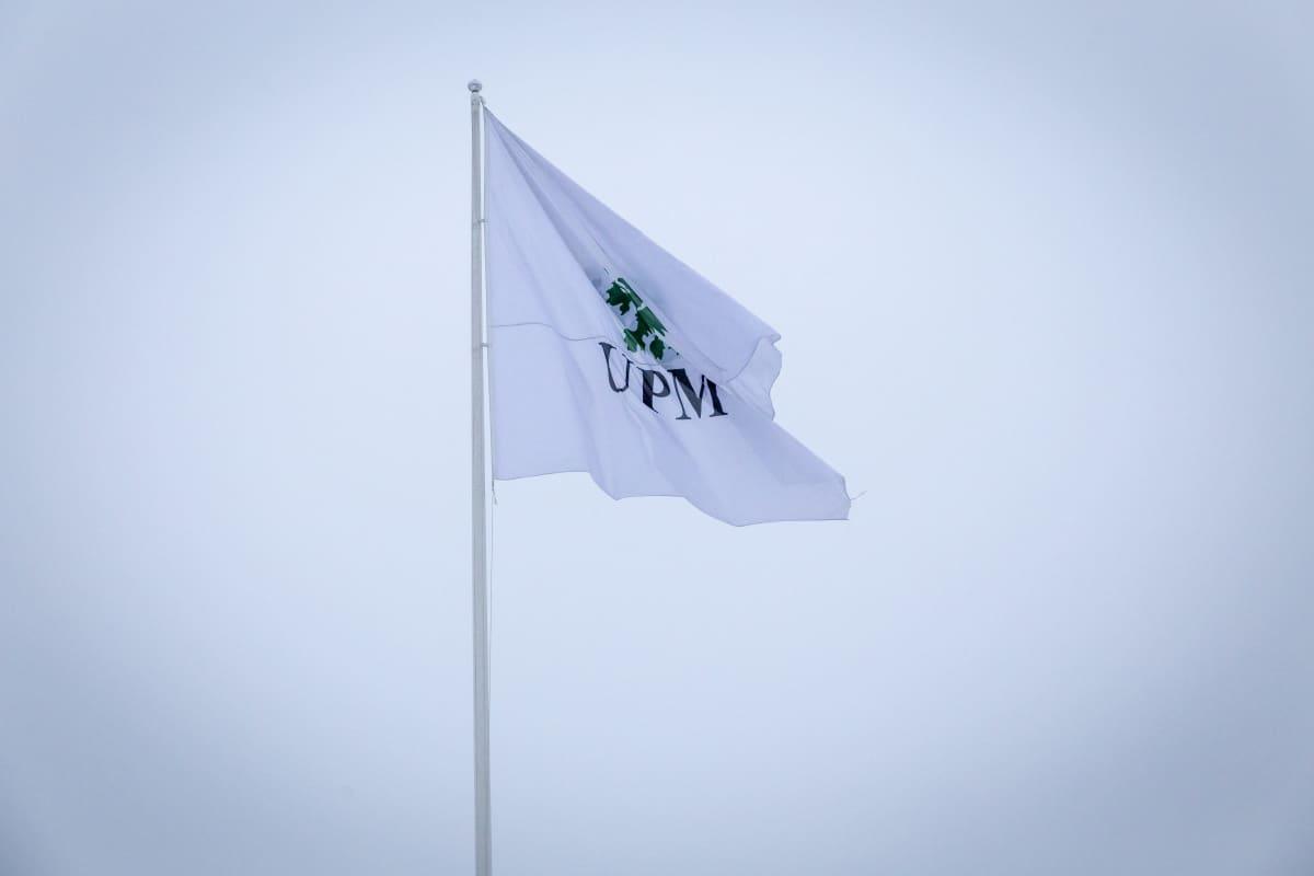 UPM lippu taivasta vasten.