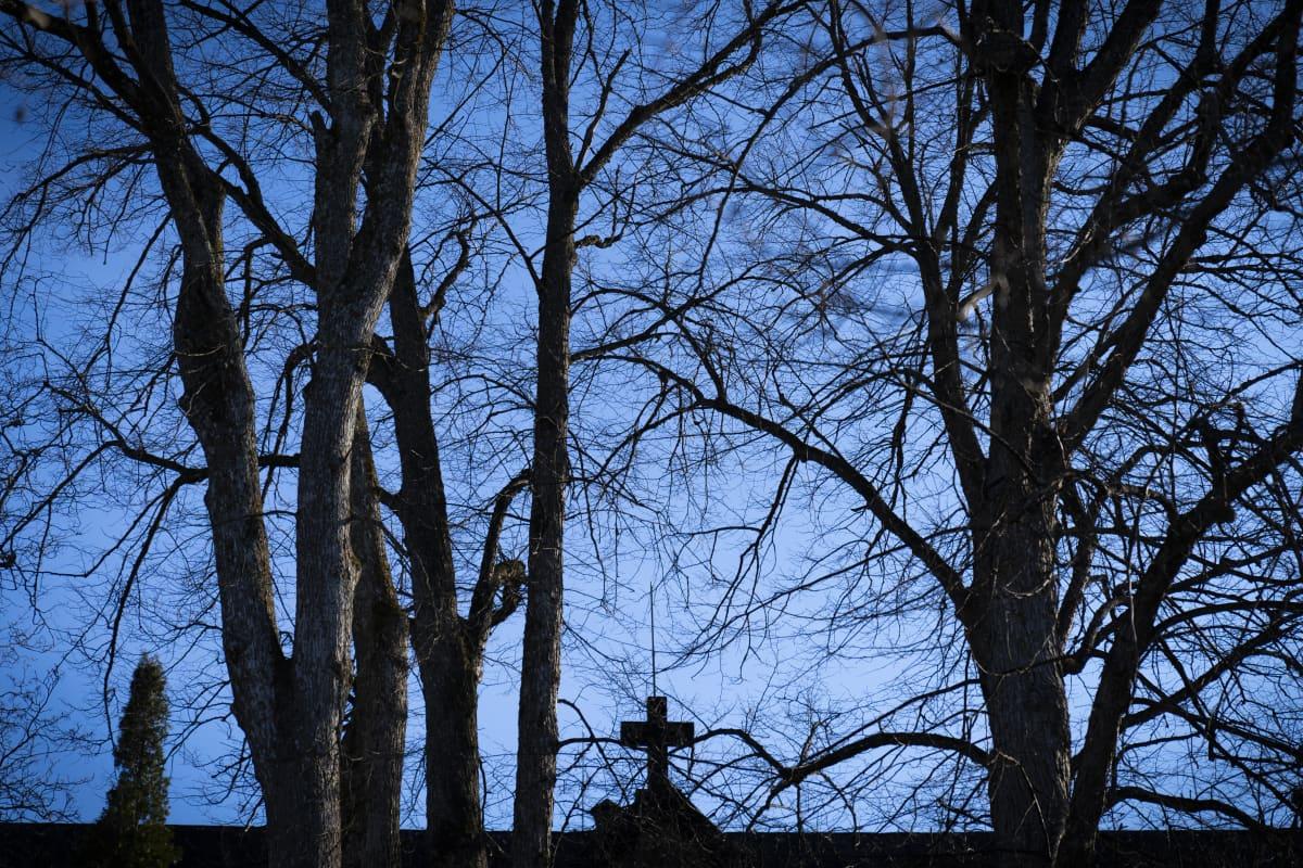 Kirkon katolla risti silhuettina sinistä taivasta vasten puiden lomassa.