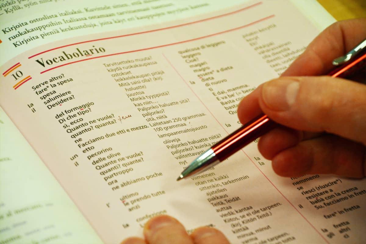 Italian kielen opiskelua